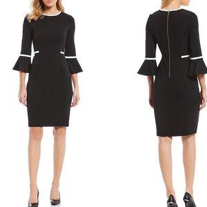 Calvin Klein black  sheath bell sleeve dress 8